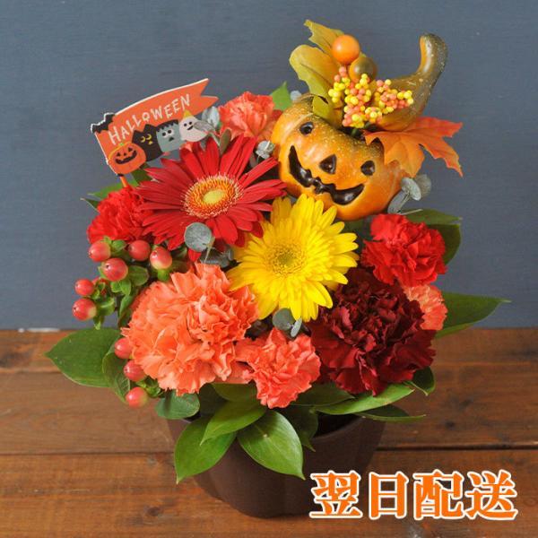 秋の実り ハロウィン かぼちゃアレンジ 選べるピック付き 即日発送 あすつくの花ギフト  期間限定 飾り付け FKAA