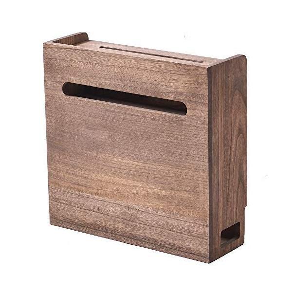 KIRIGEN総桐ルーター収納ボックスコード収納ボックススマホスタンド機能完成品植物オイル塗装仕上げブラウン