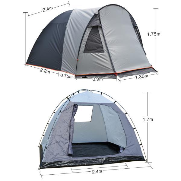 テント 4人用 オールインワン キャンプ 防水 キャンピングテント ファミリー クローズ アウトドア インナーテント 通風口 ad176|fkstyle|13