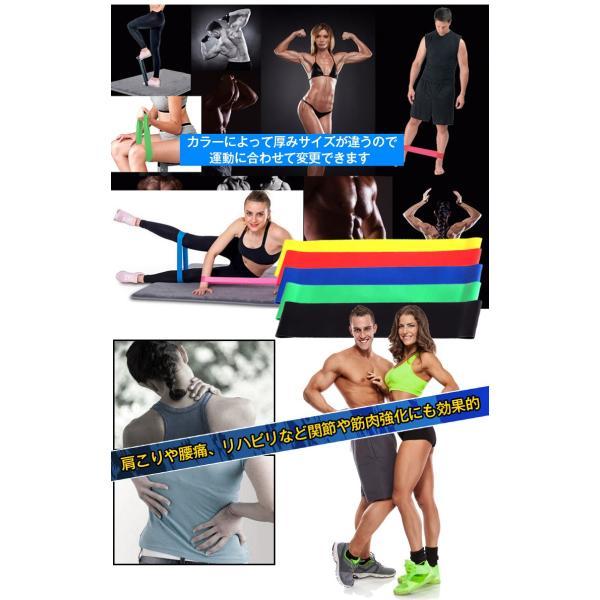 エクササイズバンド トレーニングチューブ フィットネスチューブ ループバンド 5本セット 種類 負荷 筋トレ ヨガ 肩こり 腰痛 リハビリ ダイエット 体幹 de041|fkstyle|02
