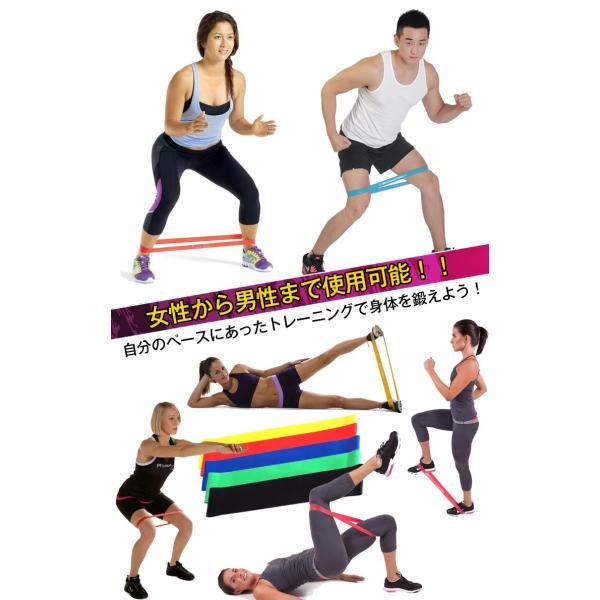 エクササイズバンド トレーニングチューブ フィットネスチューブ ループバンド 5本セット 種類 負荷 筋トレ ヨガ 肩こり 腰痛 リハビリ ダイエット 体幹 de041|fkstyle|04