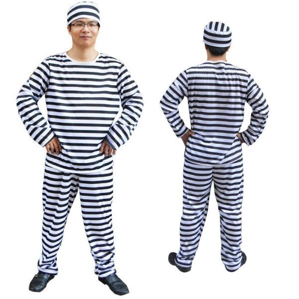 囚人 コスプレ 囚人服 帽子 メンズ レディース 安い ハロウィン 仮装 衣装 コスチューム イベント M677|fkstyle
