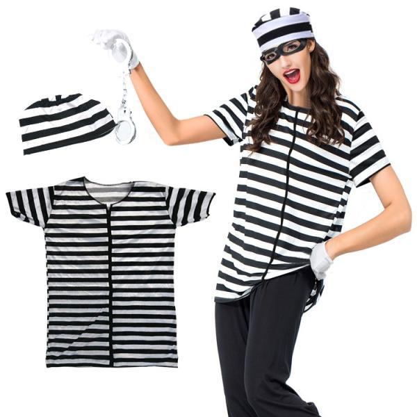 囚人 コスプレ 囚人服 帽子 メンズ レディース 安い ハロウィン 仮装 衣装 コスチューム イベント M677|fkstyle|02