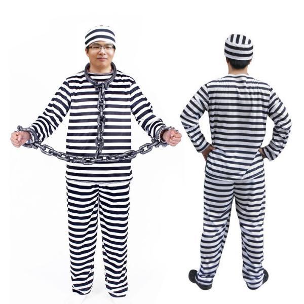 囚人 コスプレ 囚人服 帽子 メンズ レディース 安い ハロウィン 仮装 衣装 コスチューム イベント M677|fkstyle|03