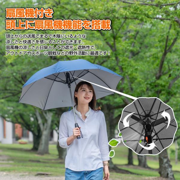 かさ 日傘 扇風機 晴雨兼用 UVカット 長傘 雨傘 遮光 紫外線対策 熱中症対策 メンズ レディース ネット付き 涼しい ny194 fkstyle 03