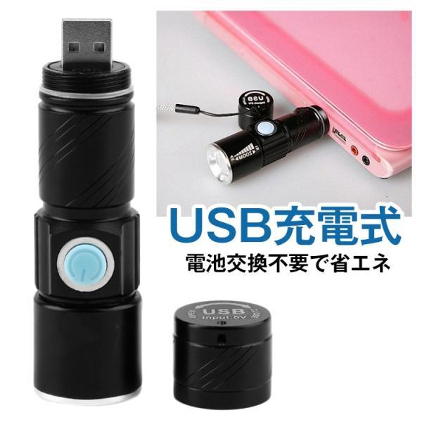 LED ライト USB充電式 ミニ 小型 明るい 防水 高輝度 コンパクト ズーム機能 電池交換不要 省エネ 災害 アウトドア 散歩 ny225 fkstyle 03