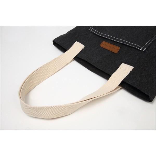 デニム生地トートバッグ レッスンバッグ ポケット付き メンズ レディース ブラック T-00100620
