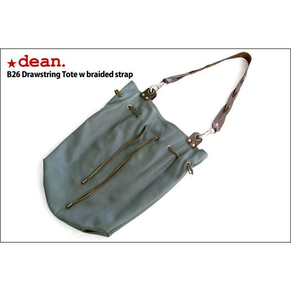 dean(ディーン) drawing tote w braided strap レザーバッグ グレー ハンドル/茶