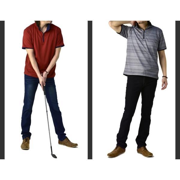 ポロシャツ メンズ 半袖 吸汗速乾 ドライ ストレッチ カットソー ハーフジップ ゴルフウェア UV B3M【パケ1】|flagon|03