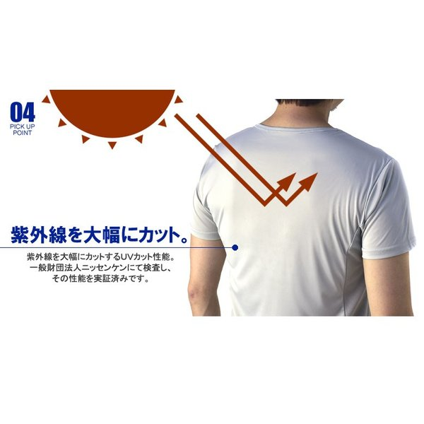 夏 インナー メンズ 肌着 クルーネック 半袖 無地 機能 Tシャツ 吸汗速乾 接触冷感 ストレッチ 両脇メッシュ 通気ベンチレーション E3D【パケ5】 flagon 05