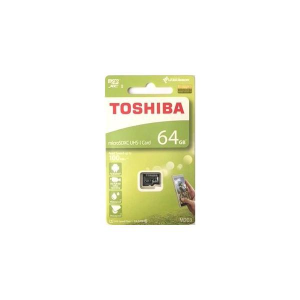 64GB TOSHIBA 東芝 microSDXCカード CLASS10 UHS-I対応 R:100MB/s 海外リテール THN-M203K0640A4 ◆メ