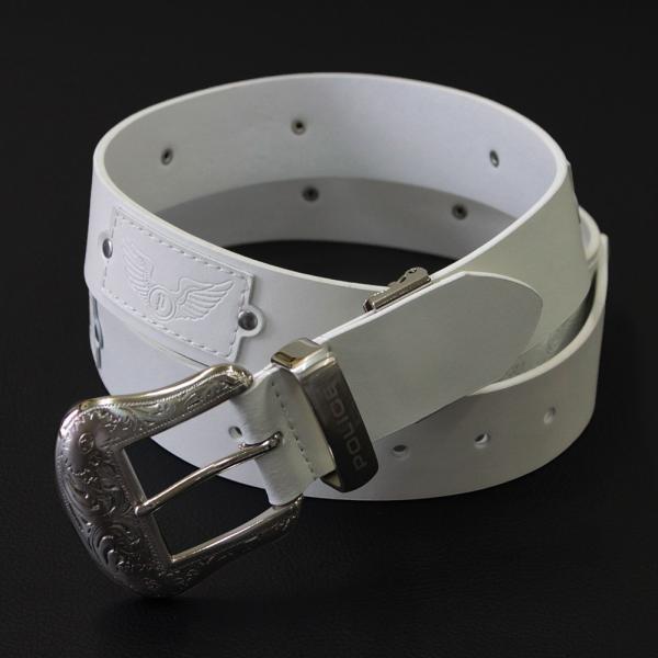 ポリス 本革 メンズ ベルト ホワイト
