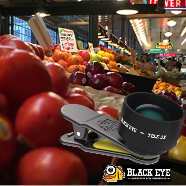 black eye ブラックアイ 3倍望遠レンズ   セルカレンズ クリップ式  BLACKEYE TELE 3X【3倍光学望遠】|fleaboardshop