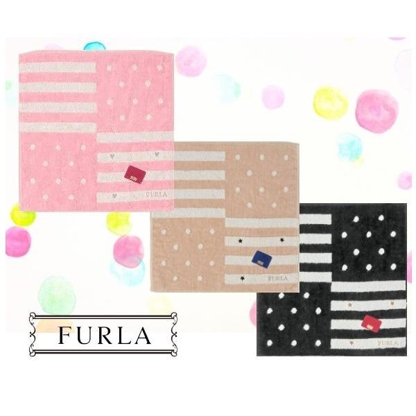 FURLA フルラ タオルハンカチ ハンドタオル ドット ストライプ 箱入 ギフト 女性 誕生日 プレゼント お礼 お返し お祝い メール便可|fleur-de-camelia2