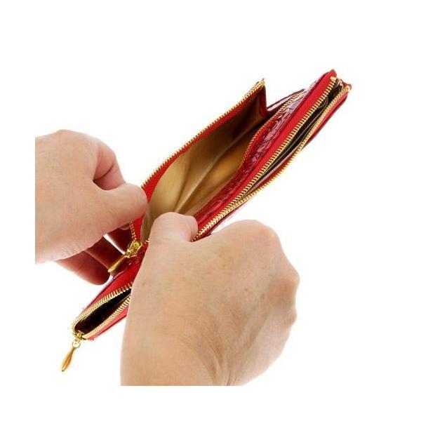 長財布 L字ファスナー ローズエナメル 型押し 札入れ 小銭入れ カード入れ レディース ファッション小物 メール便可