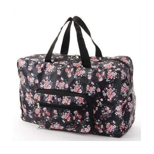 コンパクト ボストンバッグ 折りたたみ 軽量 大容量 ブーケ薔薇 エコバッグ 買い物 旅行 トラベル レジャー アウトドア メール便可