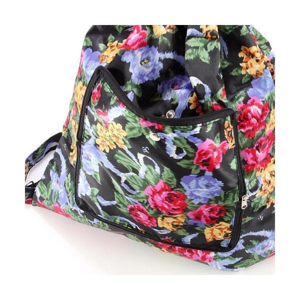 リュック 軽量 大容量 折りたたみ 花柄 コンパクト プチプラ 旅行 トラベル レジャー アウトドア 買い物 メール便可|fleur-de-camelia2|08