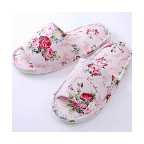 高級スリッパ リーフローズ柄 日本製 来客用 吊込式つま先なし パンセアラローズ 薔薇インテリア小物 エレガント雑貨日用品 fleur-de-camelia2
