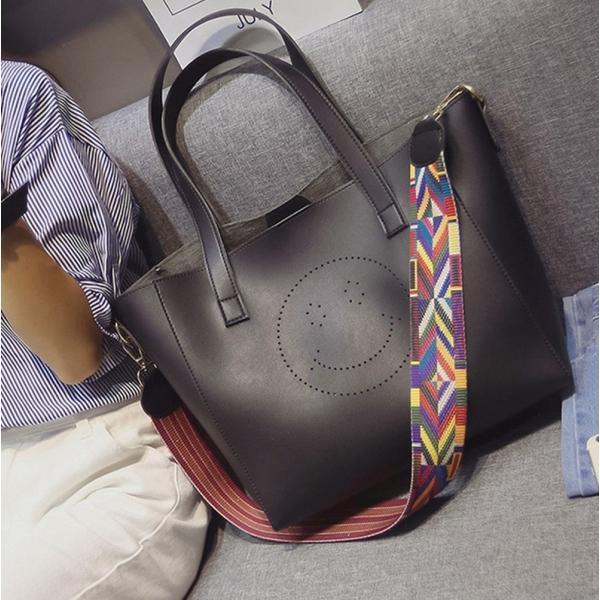 【SALE】A4ファイルもすっぽり!スマイルトートバッグ ショルダーベルト バッグインバッグ 3点セット PUレザー flexgear 02