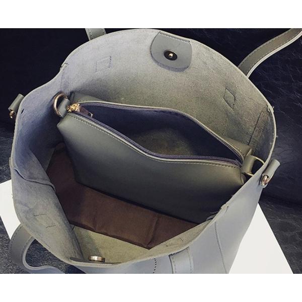 【SALE】A4ファイルもすっぽり!スマイルトートバッグ ショルダーベルト バッグインバッグ 3点セット PUレザー flexgear 06