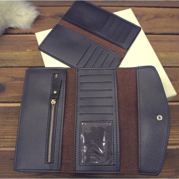 【SALE】シンプル長財布 カードケース付 三つ折り 名刺入れ レディース メンズ|flexgear|05