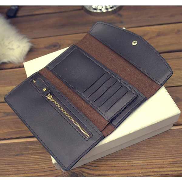 【SALE】シンプル長財布 カードケース付 三つ折り 名刺入れ レディース メンズ|flexgear|06