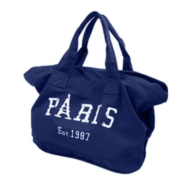 キャンバストートバッグ PARIS ロゴ ビッグトート 全面ファスナー 帆布 レディース|flexgear|03