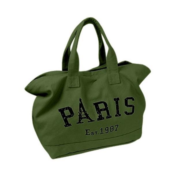 キャンバストートバッグ PARIS ロゴ ビッグトート 全面ファスナー 帆布 レディース|flexgear|04