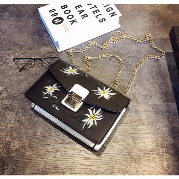 【SALE】花刺繍ハンドバッグ チェーン 花柄 刺繍 ショルダーバッグ ミニ レディース|flexgear|02
