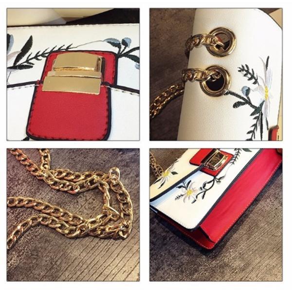 【SALE】花刺繍ハンドバッグ チェーン 花柄 刺繍 ショルダーバッグ ミニ レディース|flexgear|06