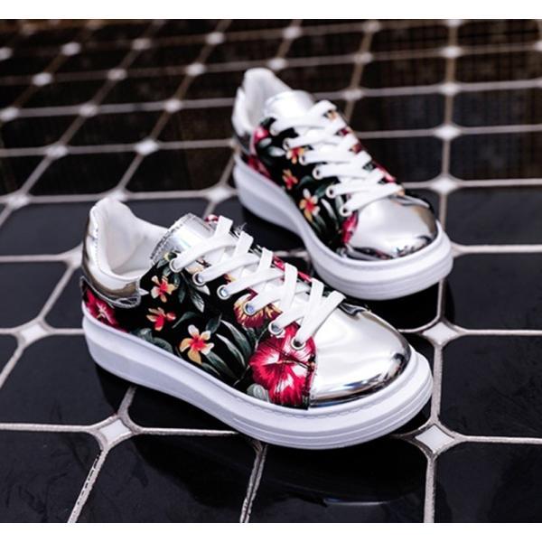 【SALE】トロピカル 花柄 スニーカー メタリックシルバー 紐靴 レディース|flexgear|02