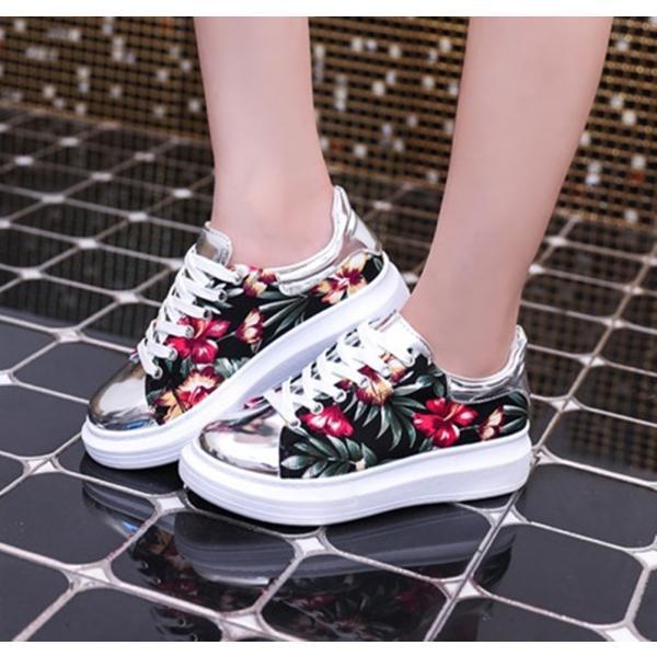 【SALE】トロピカル 花柄 スニーカー メタリックシルバー 紐靴 レディース|flexgear|03