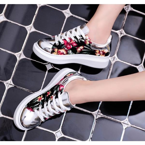 【SALE】トロピカル 花柄 スニーカー メタリックシルバー 紐靴 レディース|flexgear|04