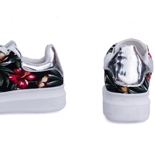 【SALE】トロピカル 花柄 スニーカー メタリックシルバー 紐靴 レディース|flexgear|05