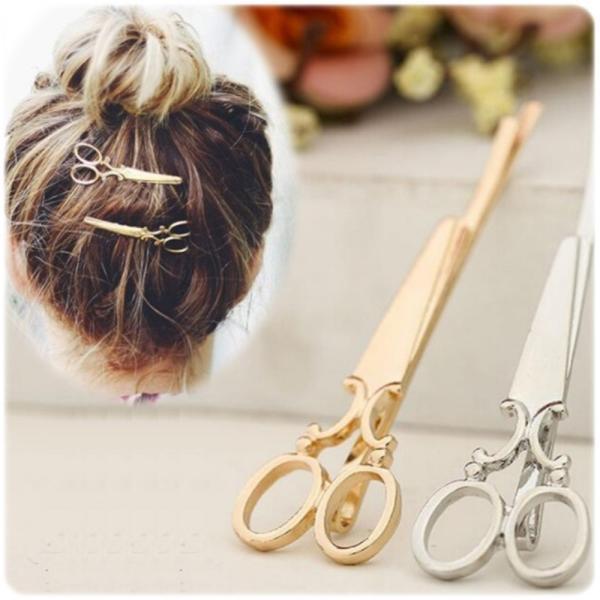 はさみ型ヘアピン 髪留め ゴールド シルバー 2色 セット ヘアピン ヘアアクセサリー|flexgear