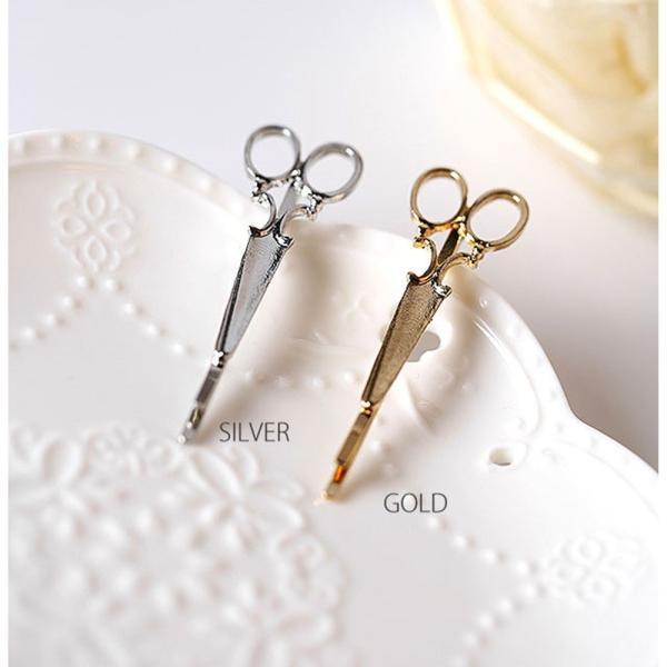 はさみ型ヘアピン 髪留め ゴールド シルバー 2色 セット ヘアピン ヘアアクセサリー|flexgear|02