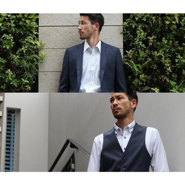 ノーアイロン ドライ ストレッチ ワイシャツ メンズ 長袖 形態安定 吸水速乾 織柄 ホリゾンタル ボタンダウン ショートワイド ストライプ 大きいサイズ|flic|17