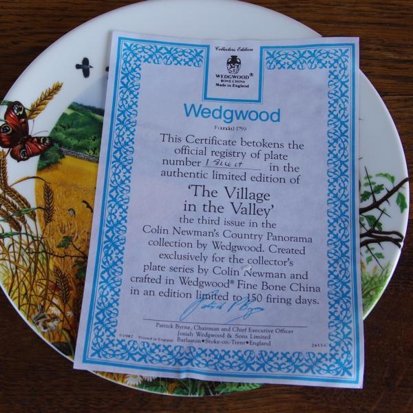 ウェッジウッド Wedgwood 飾り皿 Colin Newman 1987年 限定品 The Village in the Valley プレート|flohmarkt|05