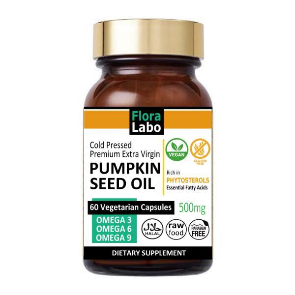 Flora Labo パンプキンシードオイル サプリメント 500mg 60ビーガンカプセル |コールドプレス・エキストラバージン・バイオダイナミック農法 |PUMPKIN SEED OIL VEGAN CAPSULES