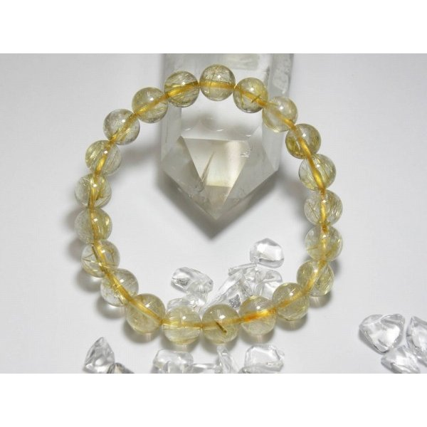 金針水晶(ゴールドルチル)ブレスレット、直径約9mm、21粒、長さ約19cm、gold-r-03