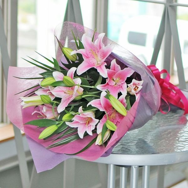 花束ギフト ピンク ユリの花束 20輪 誕生日 ゆり 百合 プレゼント 翌日配達 贈り物|flower|02