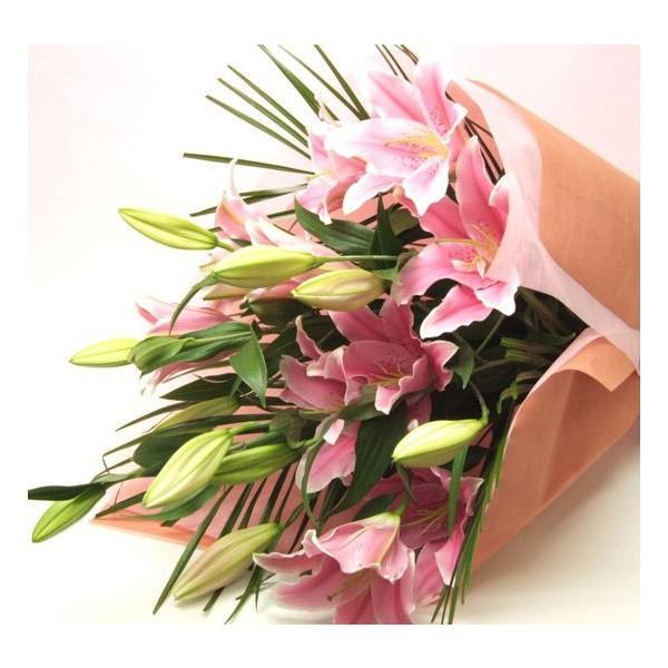 花束ギフト ピンク ユリの花束 20輪 誕生日 ゆり 百合 プレゼント 翌日配達 贈り物|flower|03