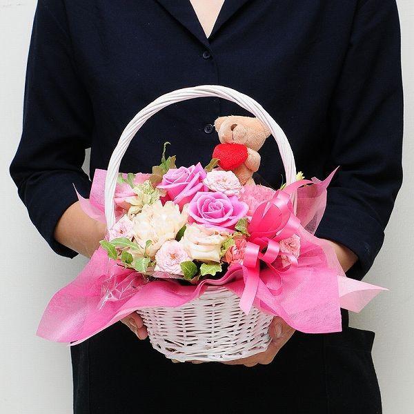 花 ギフト 誕生日 花 プレゼント ぬいぐるみ  アニマルオーナメント Mサイズ アレンジメント 翌日配達花ギフト|flower|05