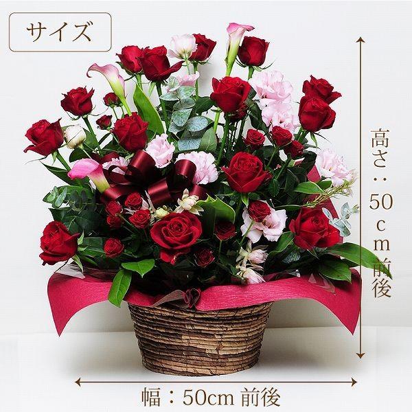 誕生日ギフト 赤いバラ  生花 アレンジメント レッドダイヤモンド 2Lサイズ バラプレゼント|flower|03