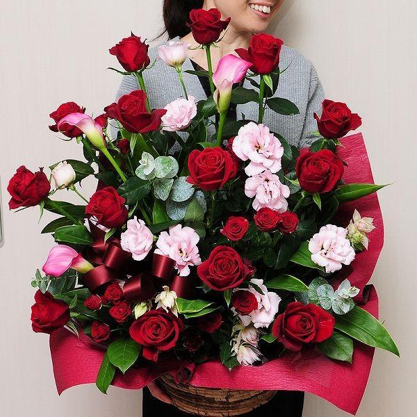 誕生日ギフト 赤いバラ  生花 アレンジメント レッドダイヤモンド 2Lサイズ バラプレゼント|flower|04