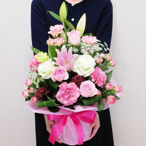 誕生日ギフト 赤いバラ  生花 ローズピンク アレンジメント ホワイトデー 母の日2019 送料無料|flower|04