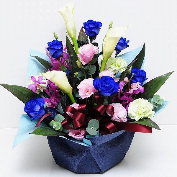 青 バラ 薔薇 生花 アレンジメント ブルーダイヤモンド Mサイズ ブルー バラ|flower|02
