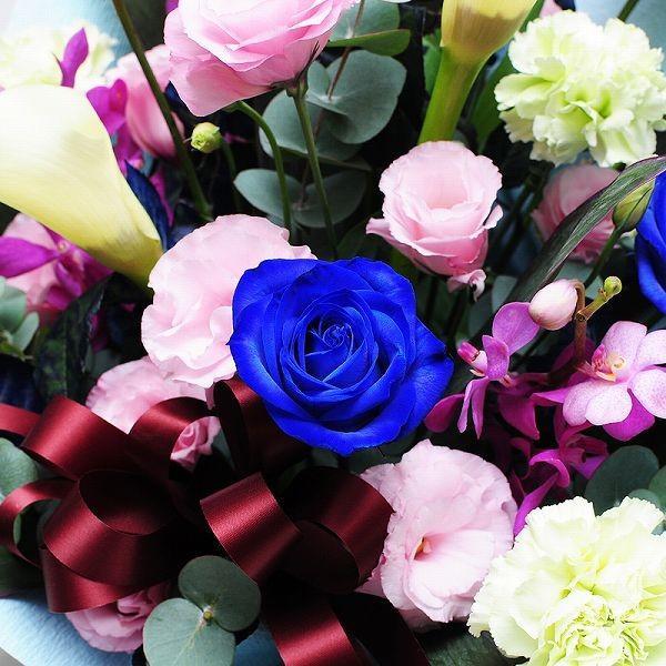 青 バラ 薔薇 生花 アレンジメント ブルーダイヤモンド Mサイズ ブルー バラ|flower|03