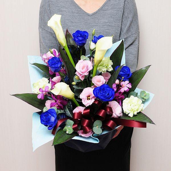 青 バラ 薔薇 生花 アレンジメント ブルーダイヤモンド Mサイズ ブルー バラ|flower|05