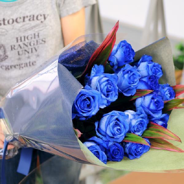 バラ 花束 青 薔薇 青いバラ 本数指定 誕生日 年の数 花ギフト ブルーローズ プレゼント 5本以上からの注文受付です|flower|03